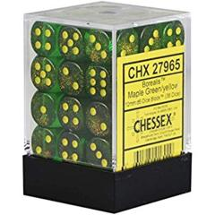 36 12mm Borealis Maple Green with Yellow D6 Dice - CHX27965