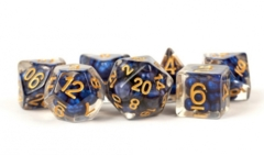 MDG Resin Poly 16mm Dice Set - Pearl Royal Blue w/ Gold Numbers