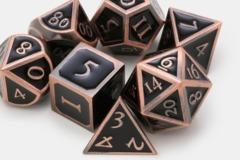 MDG Metal Polyhedral Dice Set: Antique Copper with Black Enamel