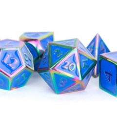MDG Metal Polyhedral Dice Set: Rainbow with Blue Enamel