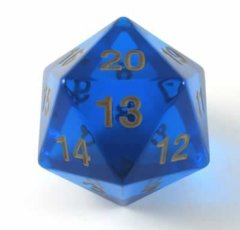 Sapphire/Blue  & Gold Big/Large Spindown - Transparent 55mm D20 Countdown