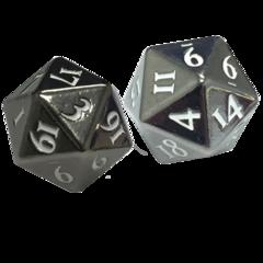 Heavy Metal Dice: D20 2-Dice Set GunMetal with White