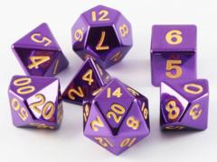 MDG Metal Polyhedral Dice Set: Purple with Gold Numbers