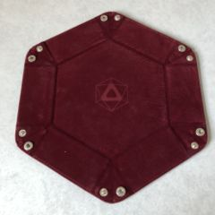 Dice Tray - Folding Hexagon Red/Maroon