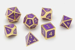 MDG Metal Polyhedral Dice Set: Gold with Purple Enamel