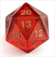 Ruby/Red & Gold Big/Large Spindown - Transparent 55mm D20 Countdown