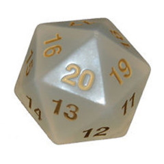 Pearl/Clear/White & Gold Big/Large Spindown - Transparent 55mm D20 Countdown