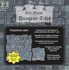 Dry Erase Dungeon Tiles - Graystone Combo Pack of Five 10' and Sixteen 5' Interlocking Tiles