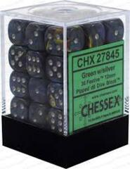CHX 27845 Festive Green/silver 12mm d6 Dice Block