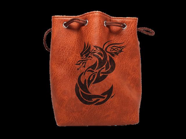 Brown Leather Lite Celtic Knot Dragon Design Self-Standing Large Dice Bag