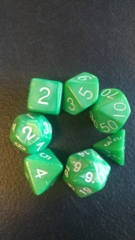 Green-White 7 die set