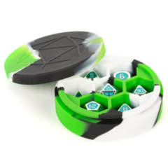 Silicone Round Dice Case - Green/Black/White