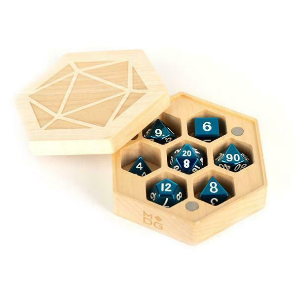Wood Hexagon Dice Case - Maple Wood