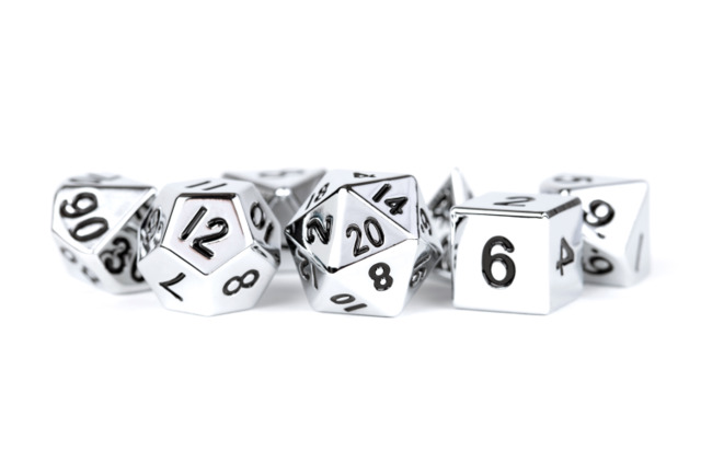 16mm Polyhedral Metal Dice Set - Silver