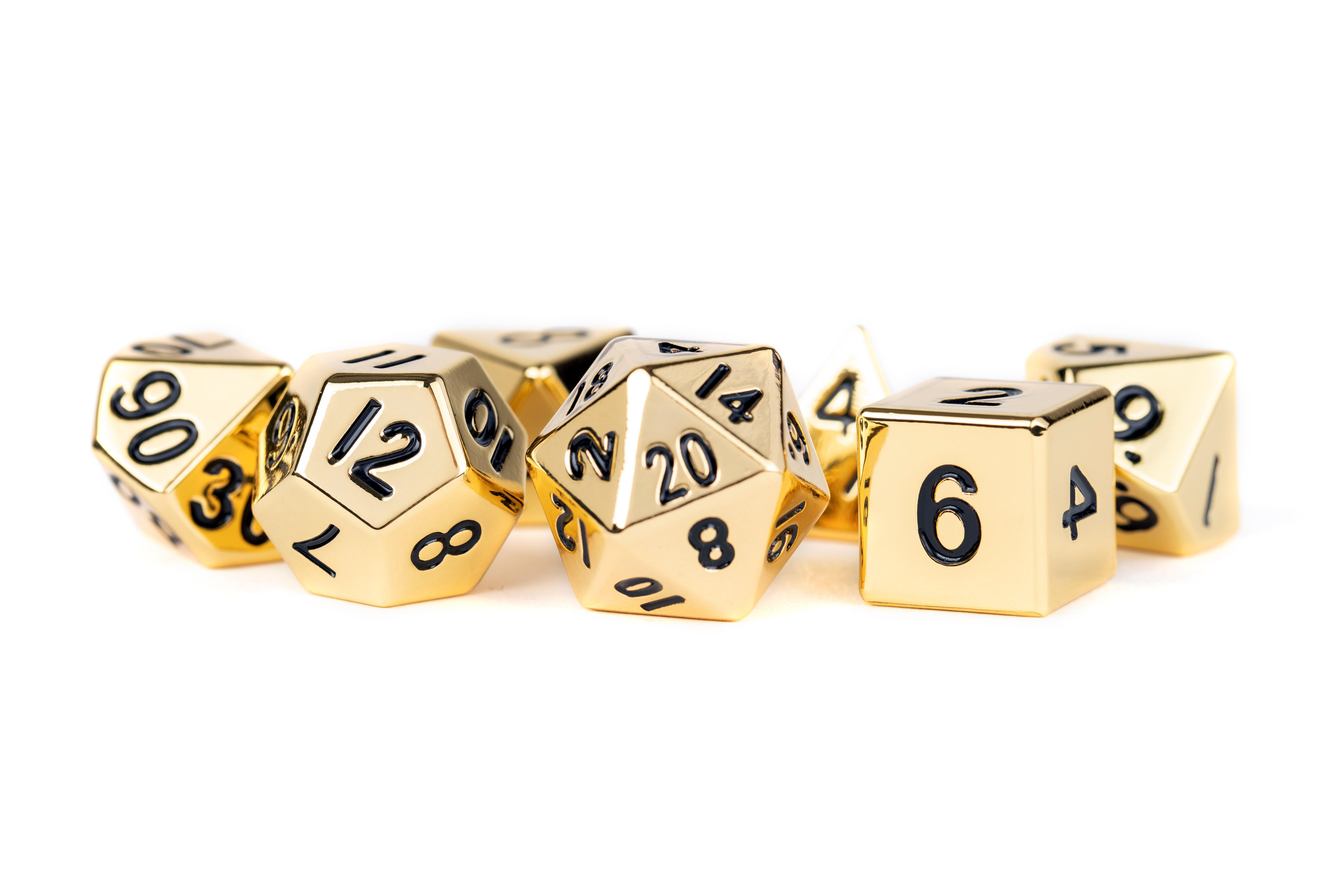 16 mm Polyhedral Metal Dice Set - Gold