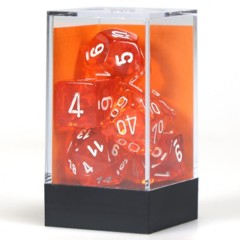 7 set Translucent Orange/White Polyhedral