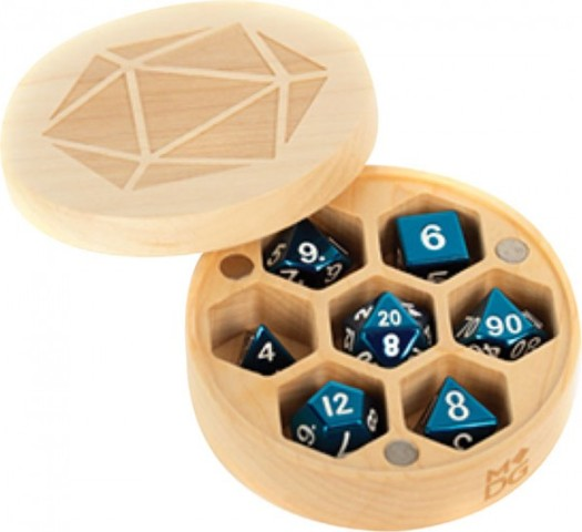 Wood Round Dice Case - Maple Wood