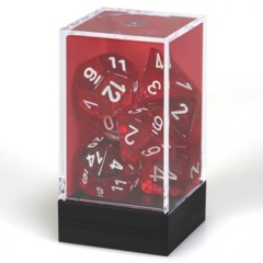 7 set Translucent Red/White Polyhedral