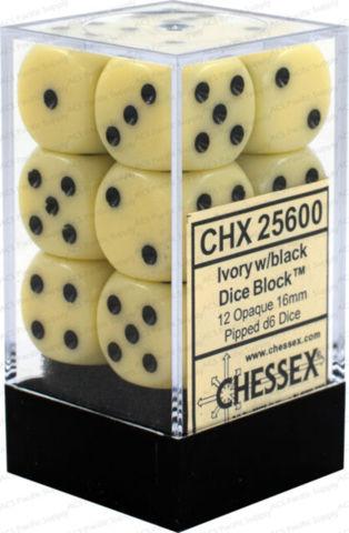 12 Ivory w/black 16mm D6 Dice Block - CHX25600