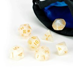 Easy Roller dice 7 pc Dice set // ivory stardust