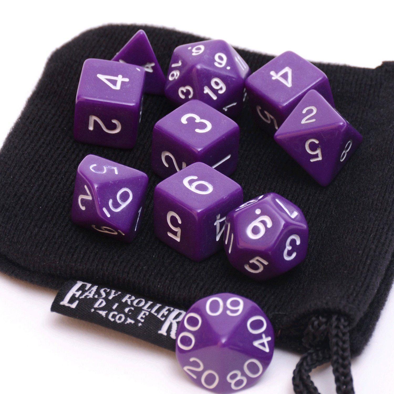 10 Piece Polyhedral Dice Set - Purple Opaque