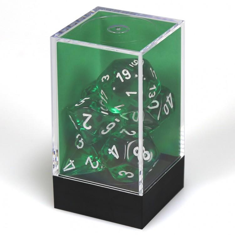 7 set Translucent Green/White Polyhedral