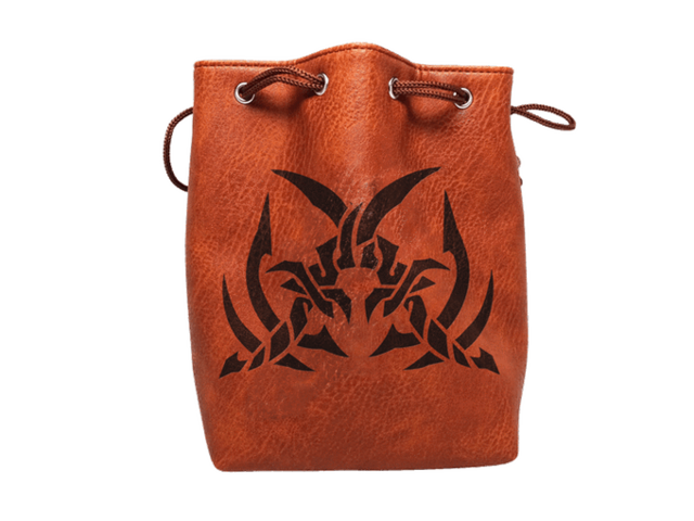 Brown Leather Lite Assassins Blades Design Self-Standing Large Dice Bag