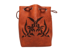 Brown Leather Lite Assassin's Blades Design Self-Standing Large Dice Bag