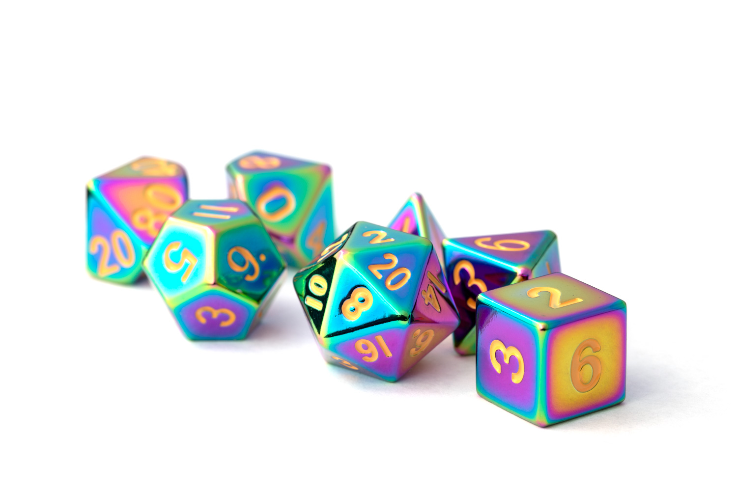 16mm Polyhedral Metal Dice Set - Touched  Rainbow