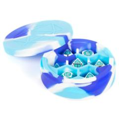 Silicone Round Dice Case - Blue/White/Light Blue