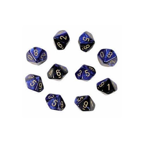 Gemini Black-Blue/gold Set of 10 d10 Dice - CHX 26235