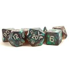 16mm Acrylic poly dice set Stardust: Gray W/ Silver Numbers