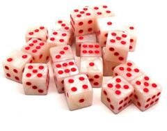 25 Count Matching D6 Set - Ivory with Red Pips