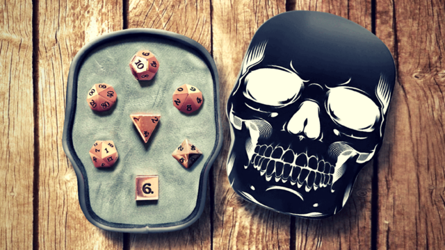 Easy Roller dice Skull case 7pc Rose Gold with Black Lettering