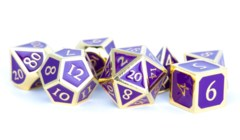 16mm Polyhedral Metal Dice Set - Gold With Purple Enamel