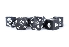 16mm Polyhedral Metal Dice Set - Black
