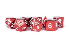 16mm Polyhedral Metal Dice Set - Red