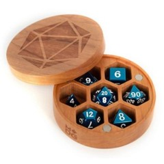 Wood Round Dice Case - Cherry Wood
