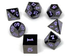 Gun Metal 7 Piece Dice Set - Signature Font - Purple