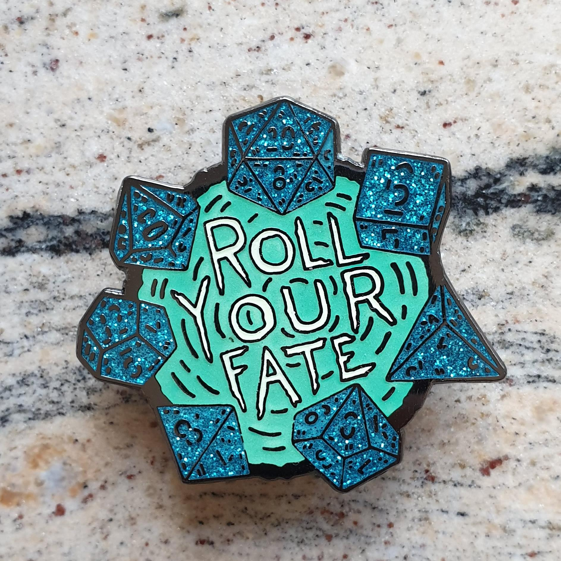 FlamingFlamingoz - Roll Your Fate Pin: Teal