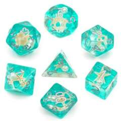 Green Glitter with Starfish and Pearl RPG Dice