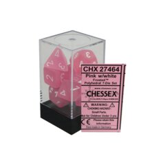 CHX27464 7 Pink w/White Frosted Polyhedral Dice Set