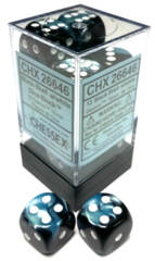CHX26646 12 16mm Black-Shell w/White Gemini D6 Dice Block