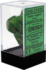 CHX27435 Vortex Green / Gold 7 Dice Set