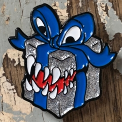 Enamel Mimic Present Pin - Silver and Blue