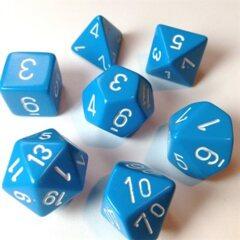 CHX25416 Opaque Light Blue / White 7 Dice Set