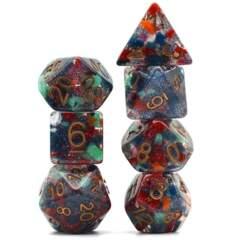 7 piece dice set - Regenerate with copper