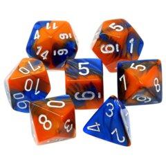 CHX26452 7 Blue-Orange w/White Gemini Polyhedral Dice Set