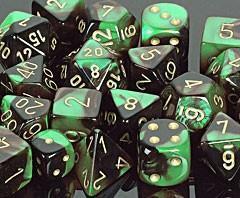 CHX26439 Gemini Black-Green / Gold 7 Dice Set