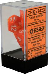 CHX27423 7 Solar w/white vortex Polyhedral Dice Set